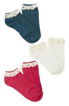 Primark - 3 Pack Lace Trim Shoe Liners Mocassin 893798dba95