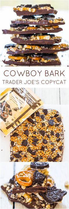 Cowboy Bark: Trader Joe's Copycat Recipe - Just like the real thing & ready in 5 minutes. Salty, sweet & supremely good! Great #ValentinesDay treat!