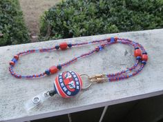 Auburn Tigers Beaded Lanyard Orange and Blue by TheLanyardNecklace, $30.00