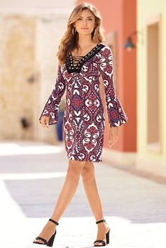 Paisley lace-up dress from Boston Proper