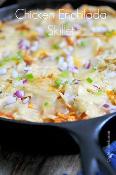 Chicken Enchilada Skillet Recipe from addapinch.com. This has become one of my favorite, quick, go-to recipes for those busy- as- can -be weeknights!