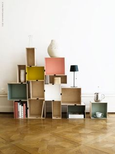 Modular storage system made from Ikea boxes = genius! We love the bright, painted colors. Diy House Projects, Cool Diy Projects, Project Ideas, Ikea Boxes, Modular Storage, Modular Shelving, Diy Shelving, Ikea Storage, Storage Units