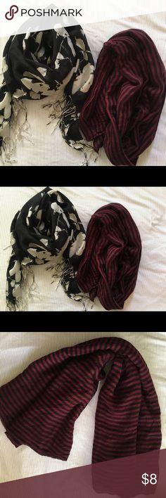 Women's oversized scarves Two super cute oversized scarves that will bring a chic twist to your outfit ✨✨ 1.) oversized red and blue striped scarf  2.) oversized black and white floral scarf Accessories Scarves & Wraps