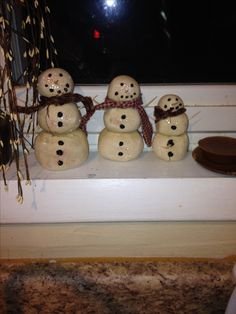 Salt dough snowman family I made :)
