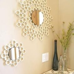 How to Make a Sunburst Mirror from PVC Pipe. Great DIY project.