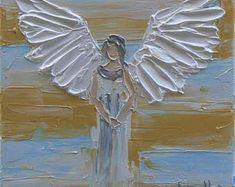 Angel Painting Commission Art Angels Custom Painting Made Painting Words, Painting & Drawing, Angel Crafts, Pallet Art, Angel Art, Christian Art, Religious Art, Folk Art, Art Projects