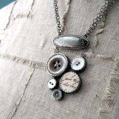 Love. Quench. NECKLACE sterling silver with vintage button and porcelain cluster. $395.00, via Etsy.