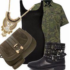 In questo outfit vi suggerisco un modo diverso di indossare una camicia camouflage. Provate ad indossarla sopra un vestito nero molto semplice, degli anfibi e una tracolla e l'effetto vi stupirà.