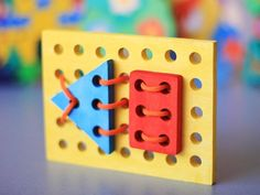 Wooden Puzzle with laces GEOMETRY. Handmade by ArtGiftStoreEcoToys, $11.00