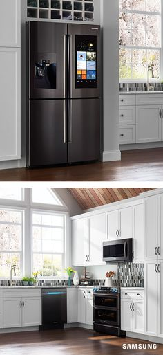 Welcome spring in with a fresh new design. The Family Hub refrigerator comes in black stainless steel, which is a great complement to fresh florals and pastel wall colors. A contrasting dark stone backsplash will make your appliances pop.
