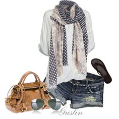 shorts and scarf, created by stacy-gustin.polyvore.com