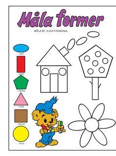Geometri – Bamse.se Art Worksheets, Preschool Worksheets, Preschool Activities, Teacher Education, Kids Education, Math 4 Kids, Learn Swedish, Kindergarten, Math Lessons