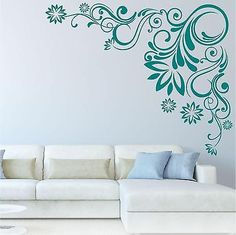 Swirl flower corner Butterfly Floral Wall Art Sticker Decal Mural Transfer vinyl