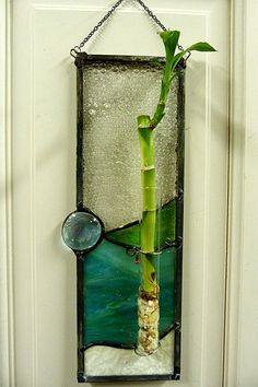 Ocean Deep Stained Glass Bamboo Plant Panel by miloglass on Etsy, $35.00