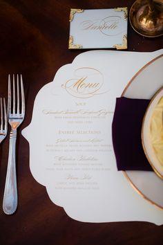 Purple + Gold Wedding Ideas  Read more - http://www.stylemepretty.com/little-black-book-blog/2014/02/28/purple-gold-wedding-ideas/