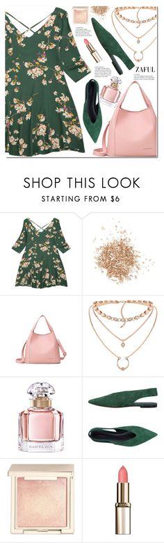"""""""V Neck Floral Print Flared Dress"""" by duma-duma ❤ liked on Polyvore featuring Topshop, Guerlain, CÉLINE, Jouer and L'Oréal Paris"""