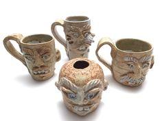 Funny Ugly Face Art Pottery Mug Stoneware Hand Crafted Signed Pottery Mugs, Pottery Art, Face Mug, Ugly Faces, Ceramic Clay, Stoneware, Ceramics, Funny, Crafts