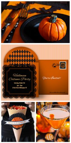 Beautiful black and orange Halloween party ideas, inspired by this gorgeous FREE Halloween party invitation. #punchbowl
