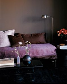 Taupe Walls - love the combination of chocolate, lilac and orchid!  Exotic.