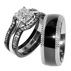 His and Hers 4 pieces Cushion Cut CZ Engagement Ring Set and men's black matching band. Women's 3 pieces thin (2mm wide each) wedding rings features one 6.5MM X 6.5MM (1.15ct) cushion cut CZ stone. Mens 6mm wide high polish black Ion Plated stainless steel band. Total 4 pieces of rings in this item.