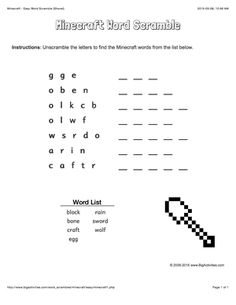 Minecraft word scramble puzzle with a shovel. 4 levels of difficulty. Scrambled words change each time you visit Minecraft Activities, Scramble Words, Winter Words, Winter Activities For Kids, Snowflakes, Homeschool, Printables, Change, School Parties