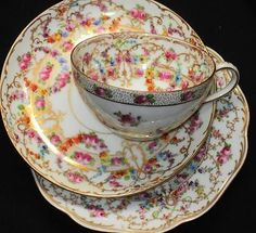 Dresden Rose Garland Buds Eccentric Tea Cup and Saucer Trio | eBay