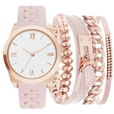 official photos 30c0d 97f5c American Exchange Pink Womens Studded Strap Watch And Bracelet Set -... ( 30