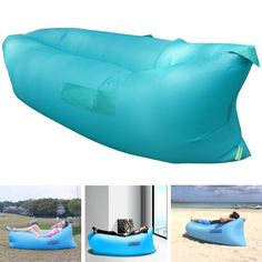 Henscoqi Outdoor Convenient Inflatable Lounger Counch Portable Air Sleeping Bag Air Sofa Air Bed for Summer Camping Beach *** You can get more details by clicking on the image.
