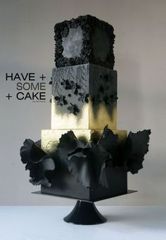 I adore this black and white cake with all it's texture, sugar art and flare. wedding cakes cakes elegant cakes rustic cakes simple cakes unique cakes with flowers Black Wedding Cakes, Amazing Wedding Cakes, Amazing Cakes, Cake Wedding, Gothic Wedding Cake, Black And White Wedding Cake, Gorgeous Cakes, Pretty Cakes, Gothic Cake