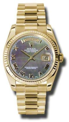 Rolex Day-Date President Yellow Gold Dark Mother of Pearl Dial 36mm Watch