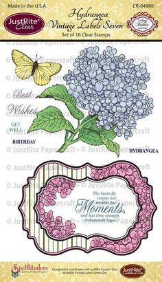 Hydrangea Vintage Labels Seven Clear Stamps