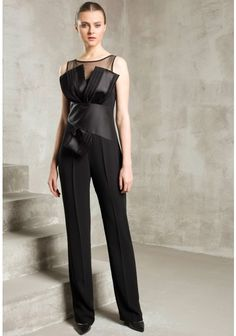 Explosion London Harper Wide Leg Cross Body Bow Jumpsuit with Sheer Neck in Black Black Wedding Dresses, Cross Body, Wide Leg, Evening Dresses, Jumpsuit, Bows, London, How To Wear, Fashion