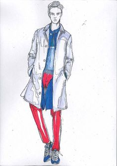We've been sent over this sketch of the Salvatore Ferragamo SS13 collection shown on Sunday at Milan Men's Week which was mix-and-match, as wardrobe classics got a painterly makeover. A rainbow of summer brights put the verve into staples such as the commuter mac and trench, sharp DB tailoring, and lightweight summer jackets.