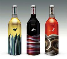 "wine packaging    I think this is successful packaging and that though each type of wine is a different color palette it is evident from the style that these bottles are by the same company. I like the choice of the animal above a very abstract and organic ""landscape"", it has a collagey feel."