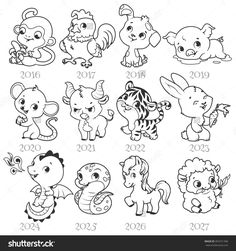 Illustration of Set of zodiac signs in cartoon style. Vector illustration isolated on a white background. Chinese New Year Zodiac, Chinese Zodiac Signs, Zodiac Signs Colors, Coloring Books, Coloring Pages, Japan Crafts, Chinese Drawings, Zodiac Sign Tattoos, Cute Dragons
