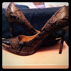 Snake Skin Pumps Brown and black snakeskin pattern pumps.  Man made material.  Has a solid dark pewter color metal pointed toe.  Platform is 1/2 inch, heel height is 4 1/2 inches!  Worn once to a wedding. Runs true to size. (CB1) Steve Madden Shoes Heels