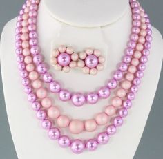 SALE Vintage Pink 3 Strand Lucite Beaded by MartiniMermaid on Etsy