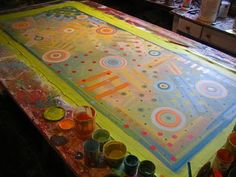 Start underpainting of painted floor cloth