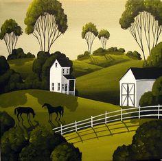 Folkartmama Original Painting Folk Art Landscape Black Horse Barn Animal Farm | eBay