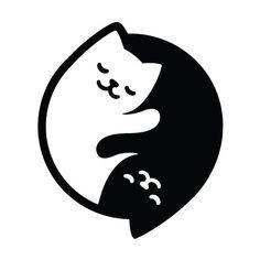 Cat Yin Yang Art Print by irmirx Arte Yin Yang, Ying Y Yang, Yin Yang Art, Cat Vector, Free Vector Art, Cute Little Drawings, Easy Drawings, Wordmark, Buy A Cat