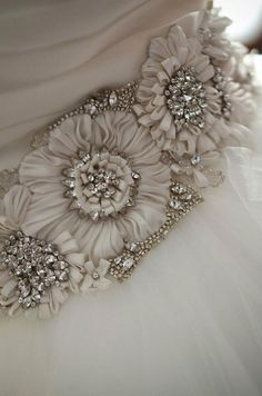 Beautiful details - flower and rhinestone sash
