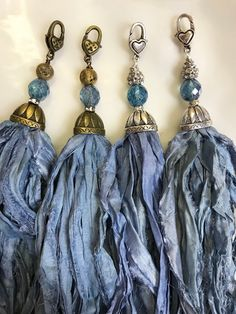 Handcrafted Tassel Country Blue to Denim Sari Silk Tassel   Etsy