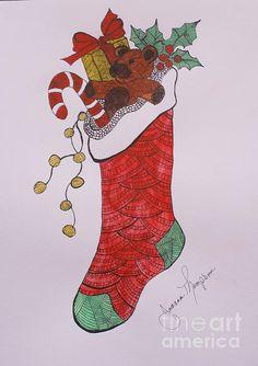Christmas Stocking Print By Joanna Thompson
