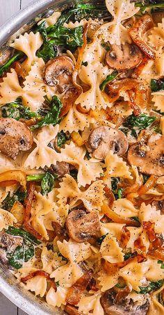 Cremige Farfalle mit Spinat, Champignons, karamellisierten Zwiebeln – **Delish… – WordPress Website - Lo Que Necesitas Saber Para Una Vida Saludable 2020 Pasta Dinner Recipes, Healthy Dinner Recipes, Vegetarian Recipes, Cooking Recipes, Healthy Pasta Dishes, Veggie Pasta Recipes, Creamy Pasta Recipes, Vegan Pasta, Healthy Italian Recipes