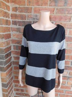 JOIE Scoop Neck Sweater Size M Rayon/Wool Blend Top Striped 3/4 Sleeve Lurex #JOIE #ScoopNeck