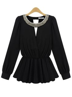 Doll Collar Chiffon Long Sleeved Shirt
