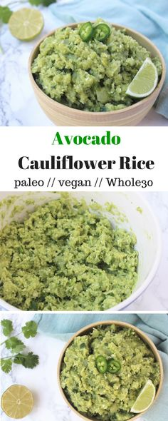 Avocado Cauliflower Rice - an easy side dish, this Avocado Cauliflower Rice takes riced cauliflower and adds smashed avocado & jalapeño to kick this paleo and Whole30 staple up a notch - Eat the Gains