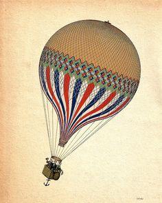 Vintage Hot Air Balloon 8X10 LeTricolore Digital Print Poster Print Airship Wall Decor Wall hanging Wall Art