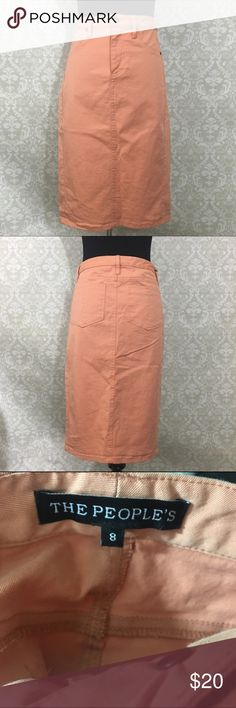 Peach midi pencil skirt Excellent used condition no stains or tears. Peachy color and a khaki like feel (see fabric content) perfect for transitioning into fall! Wear with tights, booties and a big sweater and you are good to go. Offers welcome, bundle and save! Skirts Midi