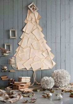 Christmas tree made of book pages--love creative alternatives like this